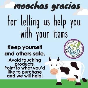 Moochas Gracias for letting us help you with your items. Avoid touching products.