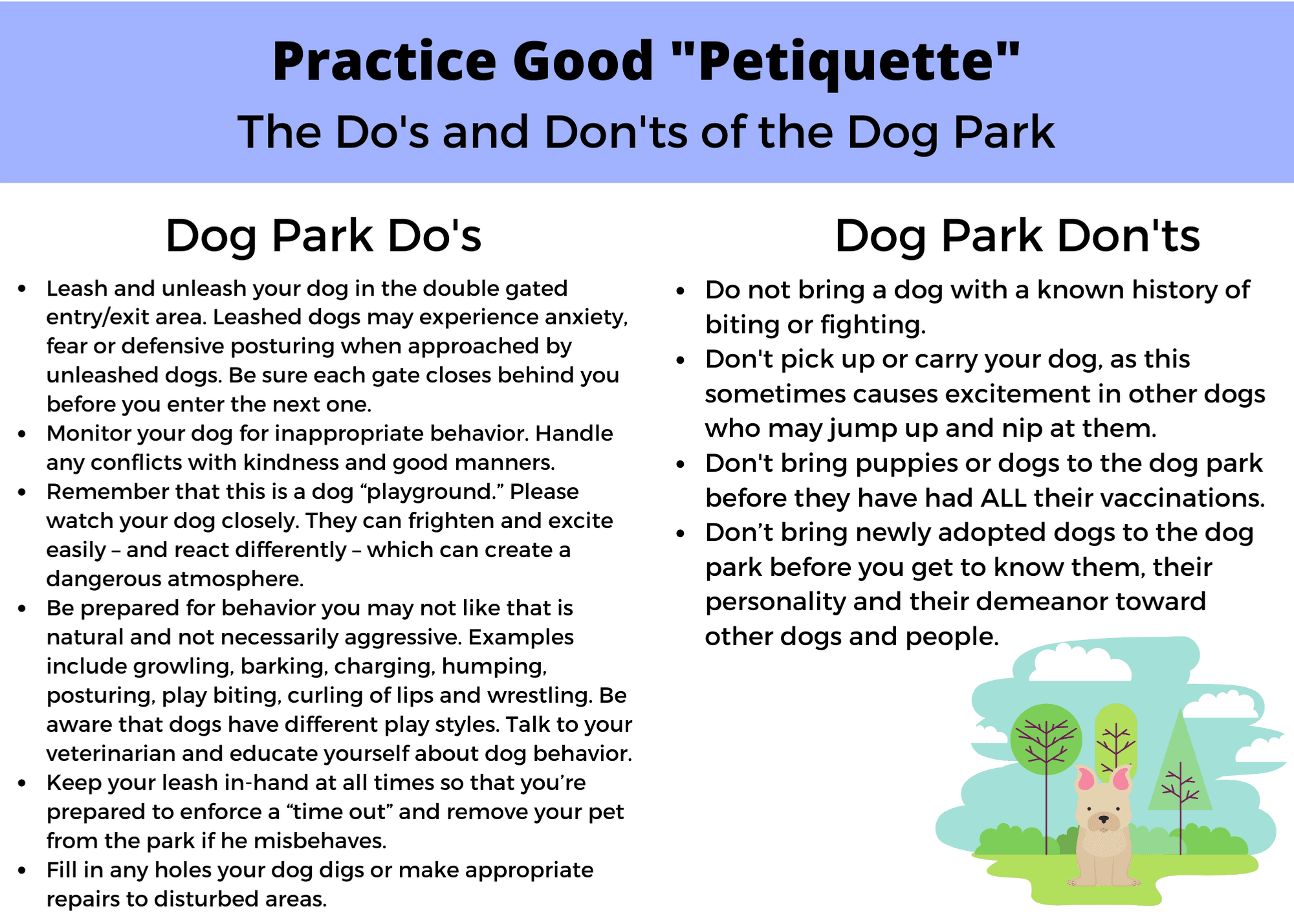 Dog Park Do's and Don'ts