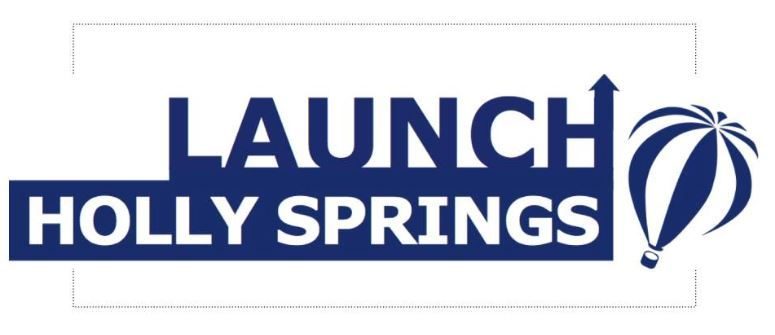 logo for launch holly springs shos an arrow on the H in the upward direction and there is a hot air